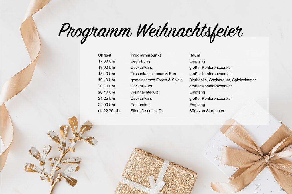 Bild 2. Programm der Weihnachtsfeier von elunic